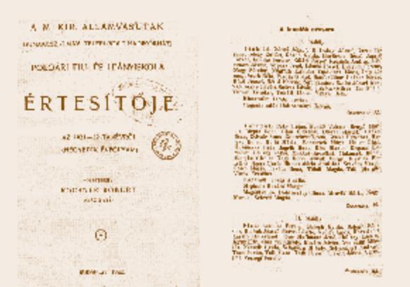 Részletek az iskola 1921/22-es értesítőjéből