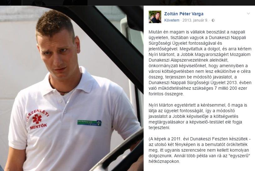 Varga Zoltán Péter, ügyeleti ruhában, Facebook-bejegyzéssel